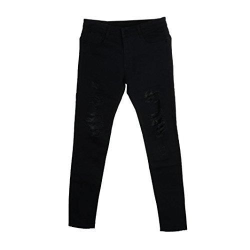 Realdo Mens Tear Hole Jeans, Stretchy Ripped Skinny Biker Destroyed Taped Slim Fit Cotton Denim Pants(Black,36)