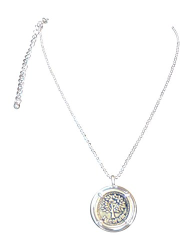 Two Tone Tree of Life Coin Pendant Necklace on Beaded 16 in Chain with 3 in Extender (Goldtone Coin)