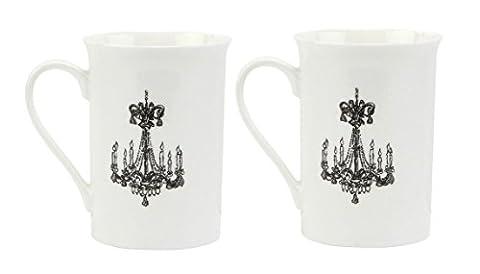 C.R. Gibson Jessie Steele Gift Set with 2 Mugs in Decorative Tin, Café Toile - 8 Ounce Cafe Mug