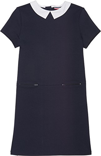 French Toast School Uniform Girls Woven Collar Double Zip Dress, Navy, X-Large (14/16)