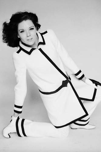 Diana Rigg in black and white coat vintage fashion pose 11x17 Mini Poster -