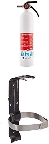 "First Alert Fire Extinguisher | Marine FireExtinguisher, White, 8.8"", FE1A10GR and First Alert BRACKET2"