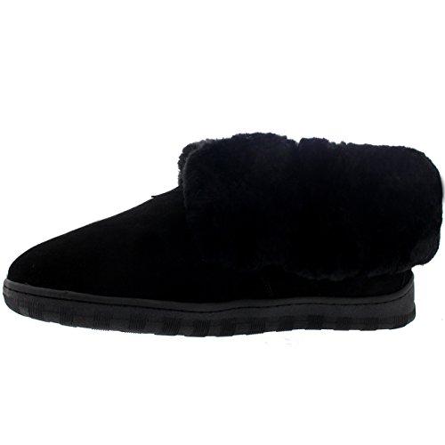 Polar Hombre Forrada De Piel Genuina Piel De Oveja Australiana Manguito De Pieles Botas Zapatillas Negro