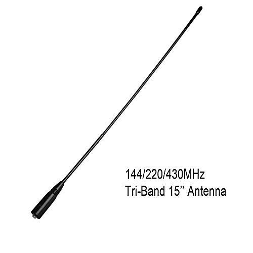 (HESENATE Tri-Band 144/220/430Mhz Female Antenna 15In for HESENATE HT-UV5Rx3 Handheld Radio)