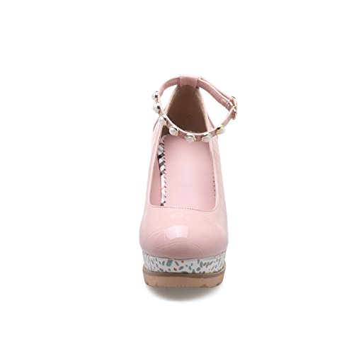 YE Damen Keilabsatz Lack Pumps Knöchelriemchen High Heels Plateau mit Schnalle Elegant Schuhe Rosa