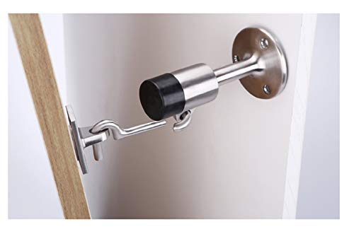 Door Stop with Manual Hook and Eye, Safety Bumper Heavy Duty Stainless Steel Lock, Floor Mounted Bumper, Door Bottom Bracket, Brushed Chrome