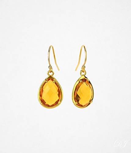 Citrine Earrings, November Birthstone, Teardrop Shape Drop Earrings with Natural and Man-Made Gemstones, Half Prong/Half Bezel Settings