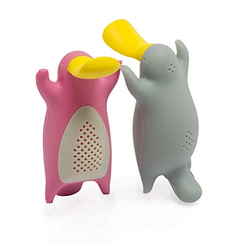 Tea Infuser Gift Set for Loose Leaf Tea, Cute Platypus Tea Strainer Pair in Lovely Gift Box, Ideal Couples Gift, Set of 2, Grey and Pink (Infusers Cute Tea)