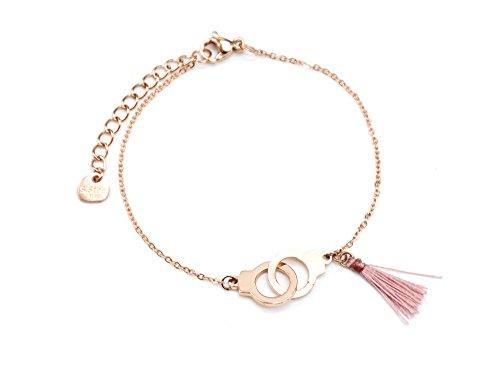 BC2273F - Bracelet Fine Chaîne avec Charms Menottes Entrelacées Acier Or Rose et Pompon Vieux Rose
