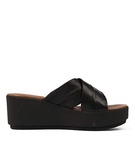 Shoes Heels Medium 7111 INUOVO Wedges Black Summer Womens Leather URawRExq