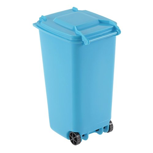 Recycle Plastic Mini Wheelie Bin Desk Tidy Office Desktop Stationery Organiser Creative Pen Pencil Holder With Two Wheels Design ()