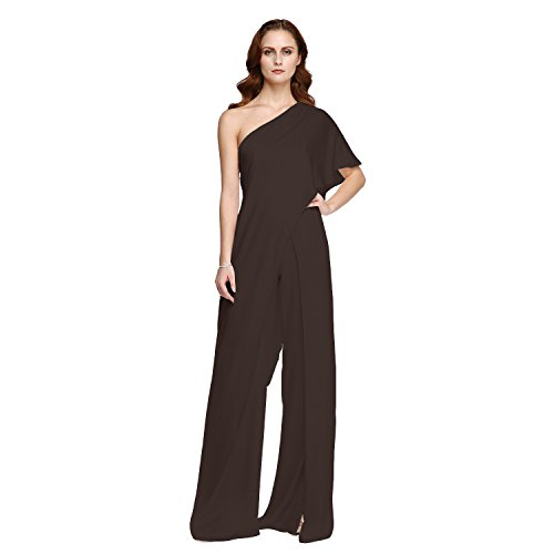 Women's Jumpsuit Formal Evening Dress Celebrity Style One Shoulder Floor-Length Chiffon Pants Dresses,Black-16 ()