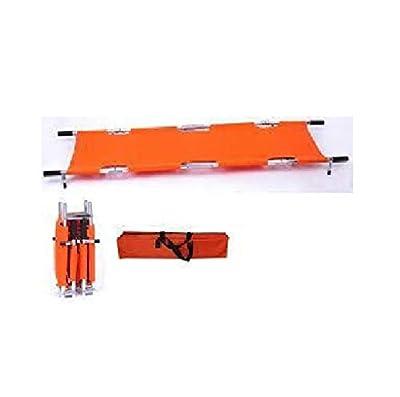 LINE2design Four Fold Stretcher with Handles & Carrying Case Aluminum Stretcher Orange - Emergency Medical Portable Travel Size Patient Transport Stretcher