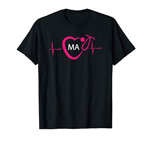 Medical Assistant MA EKG Stethoscope Heart Artistic T-shirt (Best Stethoscope For Medical Assistant)