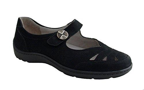 WALDLÄUFER Damen Slipper Henni 496309-191-001 denver schwarz, Damen Größen:37;Farben:schwarz