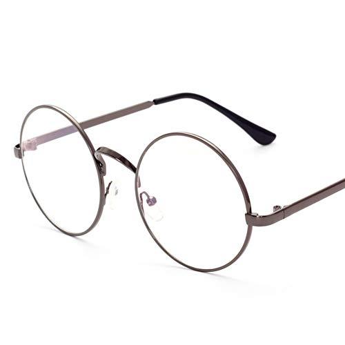 Lovef Large Oversized Metal Frame Clear Lens Round Circle Vintage Eye Glasses 5.42inch (Bronze) ()