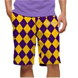 Amazon.com : Loudmouth Golf Mens Shorts: Purple & Gold Argyle ...