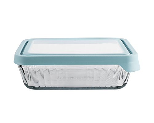 Anchor Hocking TrueSeal Embossed Glass Food Storage Container with Lid, Mineral Blue, 6 Cup