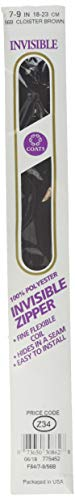 Coats & Clark F8409-056B Invisible Zipper, 7 x 9, Cloister Brown