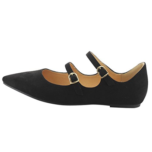 Dual Black Scalloped Buckle FJ81 Ballet Women's BETANI Straps Flats Dress Edge wCqEvtXt