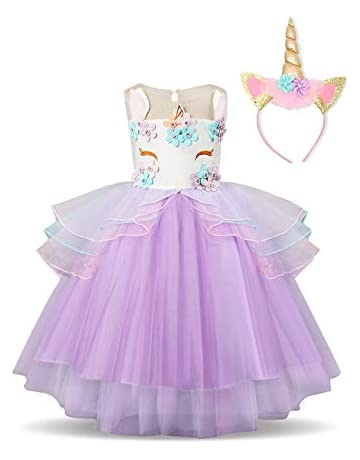 4ac3028e27d NNJXD Unicorn Costume for Flower Girls Cosplay Party, Fancy Princess Dress