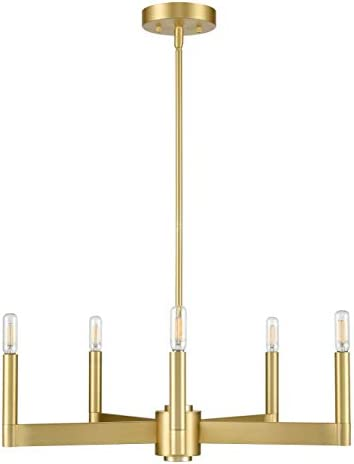 Trento Modern 5 Light Chandelier – Satin Brass w Bulbs – Linea di Liara LL-CH424-3SB
