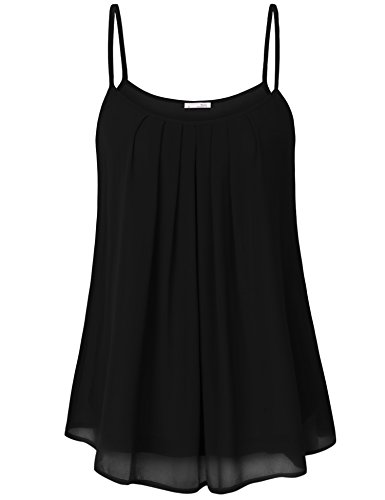 Messic Women's Summer Sleeveless Chiffon Blouse Cami Top Black X-Large