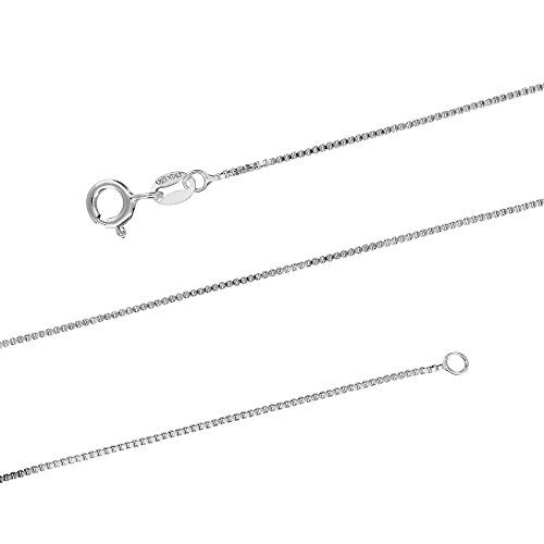 Sterling Silver 1mm Box Chain Necklace Solid Italian Nickel-Free, 18 - 18 Inch Necklace Chain