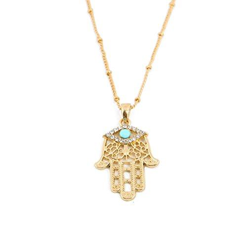 TIDOO Jewelry Unisex's Street Style Hamsa Evil Eye 18k Gold Plated Steampunk Pendant Necklace 03 Gold