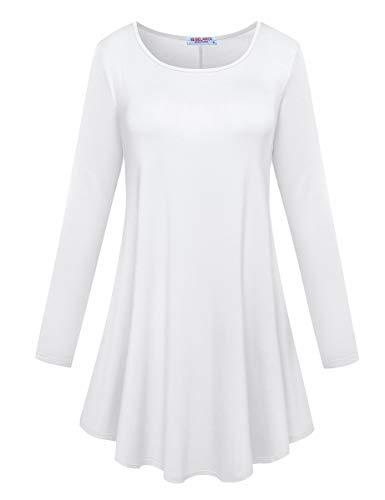 BELAROI Women's Comfort Long Sleeve Tunic Round Neck T-Shirt Casual Blouses Tops(2X,White) -