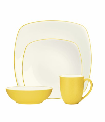 (Noritake 4-Piece Colorwave Square Place Setting, Mustard)
