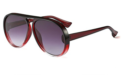 Large Aviator Sunglasses for Women Fashion Plastic Frame Vintage Retro Shades (Burgundy, 65) ()