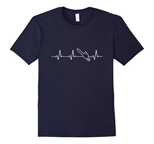 Mens Lumberjack Chainsaw Heartbeat T-Shirt Large Navy