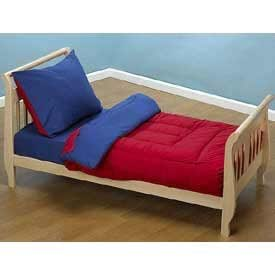 Red and Navy Solid Color Toddler Bedding