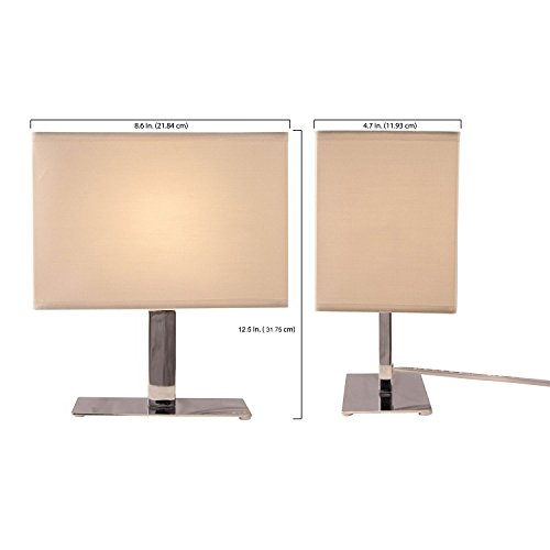 Light Accents 1040tl 20 Bedroom Chrome Table Lamp Set Chrome Finish With White Shades Small