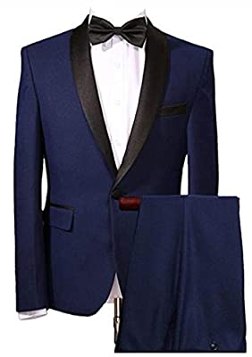 Men's Navy Blue Wedding Suits 2 Pieces One Button Men Suits Groom Tuxedos