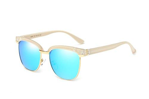 YJMILL New Polarized Cat eye sunglasses Retro Pilots Riding Fishing Golf Travel Sports Sunglasses Women 9950 (blue, - Retro Ski Sunglasses
