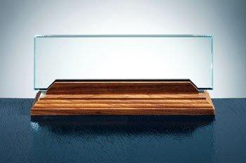 Jade Glass Name Plate with Walnut Base Corporate Award