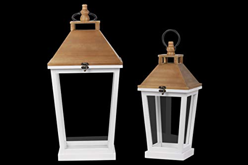 (Urban Trends 41084 Square Lantern with Natural Wood Top, Ring Handle, Tapered Bottom Design Body Set of Two Painted Finish White)