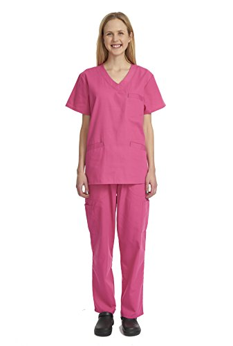 [Denice Womens Scrub Sets / Multiple Pockets / Medical Uniforms 1050 (Large, Hotpink)] (Contemporary Machine Embroidered Fashions)