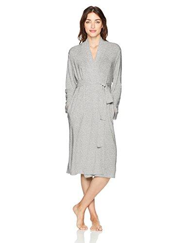 N Natori Women's Soho Brush Robe, Heather Grey, - Natori Robe Fleece