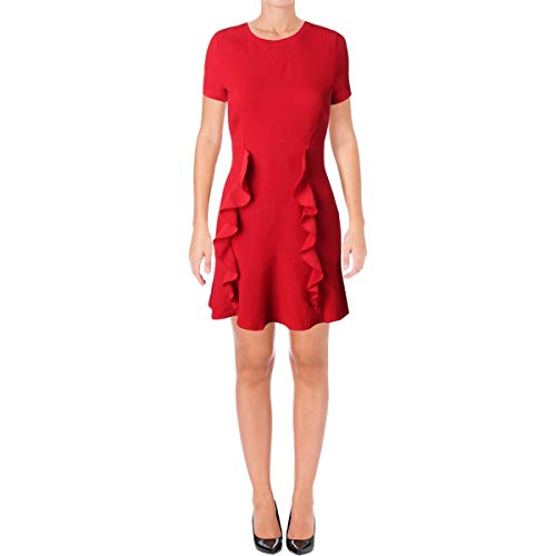 Juicy Couture Black Label Womens Short Sleeves Mini Party Dress Red 0
