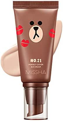 Missha M Perfect Cover BB Cream #21 SPF 42 PA+++(50ml) (LINE FRIENDS Edition)-Lightweight, Multi-Function, High Coverage Makeup to help infuse moisture for firmer-looking skin