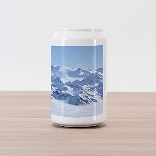 (Ambesonne Mountain Cola Can Shape Piggy Bank, Snowy Summit of Alps Over The Clouds Scenery at Winter Wilderness in The Nature, Ceramic Cola Shaped Coin Box Money Bank for Cash Saving, White Blue)