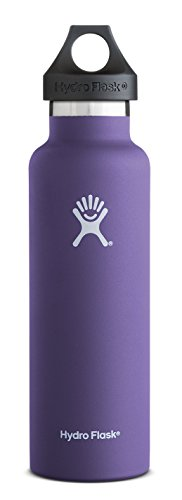 Hydro Flask 24 oz Vacuum Insulated Stainless Steel Water Bottle, Standard Mouth w/Loop Cap, Plum