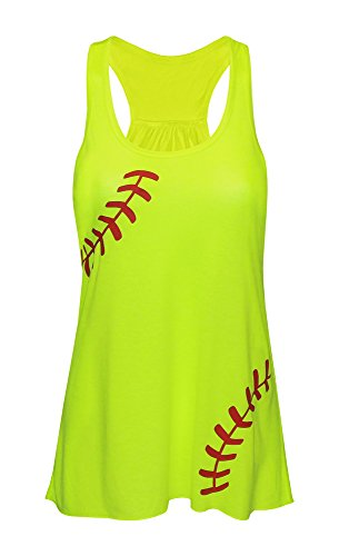 Zone Apparel Women's Softball Tank Top - Flowy Laces Shirt XX-Large Neon Yellow