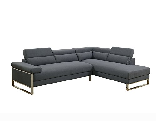 Poundex F6539 PDEX-F6539 Sectional Set, Charcoal
