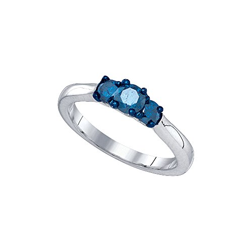 10kt White Gold Womens Round Blue Colored Diamond 3-stone Bridal Wedding Engagement Ring 3/4 Cttw