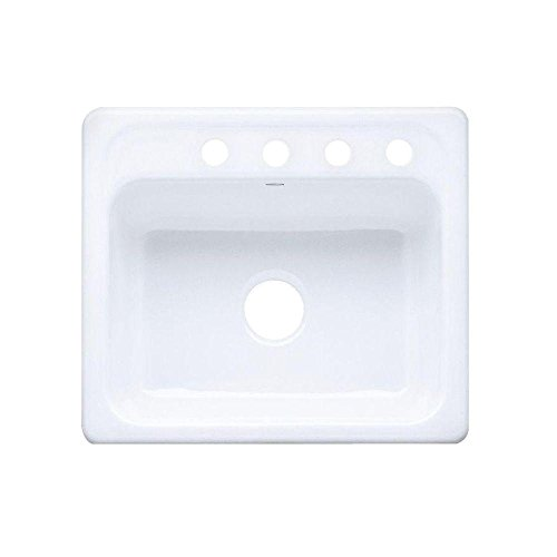 KOHLER K-5964-4-0 Mayfield Self-Rimming Kitchen Sink, White