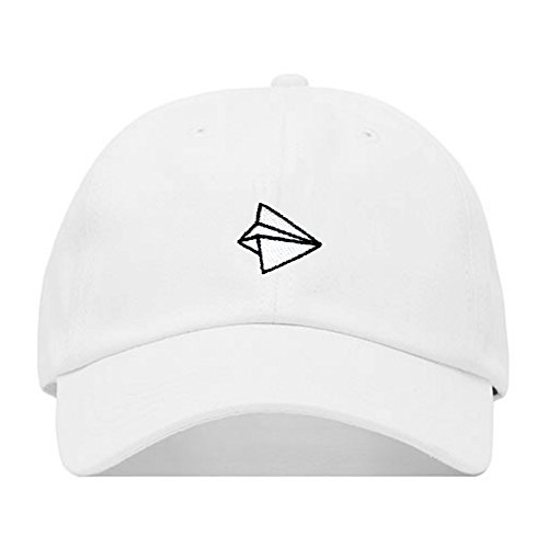 Paper Airplane Dad Hat, Embroidered Baseball Cap, 100% Cotton, Unstructured Low Profile, Adjustable Strap Back, 6 Panel, One Size Fits Most (Multiple Colors) (White)